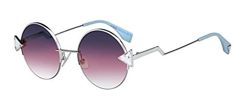 FENDI FF0243 / S Gafas de sol w/gris Fuchsia Gradiente 51MM lente TJVFF FF0243S FF FF 0243S 0243 / S mujer Plata Grande