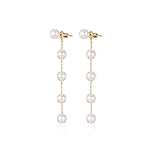 zhaohupinpai Pendientes de Perlas con Flecos Largos/Gota para el oído, Pendiente/Colgante de Cuentas de Plata de Ley 925, Pendientes de Cuentas de Moda de Temperamento Femenino, Regalo para el día