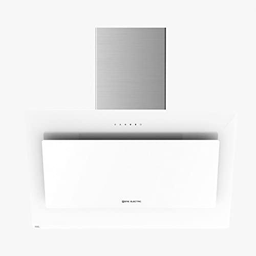 EAS ELECTRIC SMART TECHNOLOGY | EMRH608VRT-W | Campana extractora | Campana de pared | Inclinada | Anchura de 60 cm | Cristal Blanco | Táctil | 4 niveles | capacidad de 800 m3/h