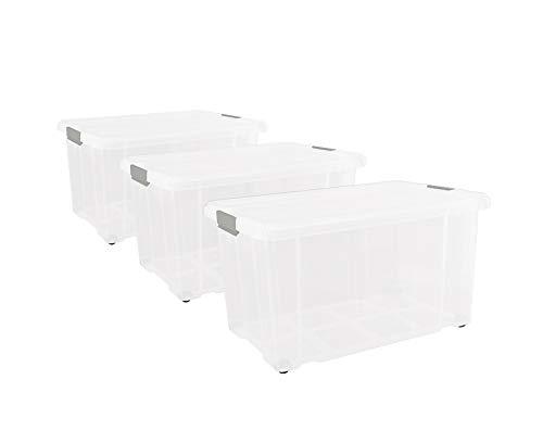 3 Stück Eurobox mit Deckel und Rollen 60 x 40 x 33 cm Transparent Griffe silber