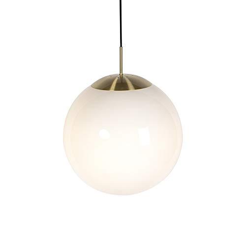 QAZQA Modern/Design Skandinavische Hängelampe Opalglas 40 cm - Ball 40 / Innenbeleuchtung/Wohnzimmerlampe/Schlafzimmer/Küche/Stahl Kugel/Kugelförmig LED geeignet E27 Max. 1 x 40 Watt