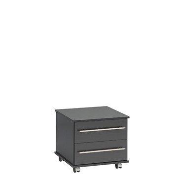 Ideal Nachttisch, 2Schubladen, Holz, schwarz