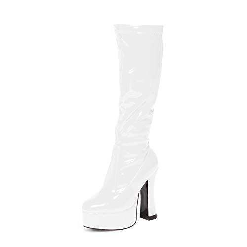 Womens Ladies Mens Knee High Platform Disco GoGo Fancydress Boots (6 UK, White)