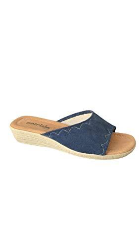 Sandalo Donna Ciabatta Mare Piscina Spa in Spugna 100% Art.177 Microfibra (38 EU,Oceano)