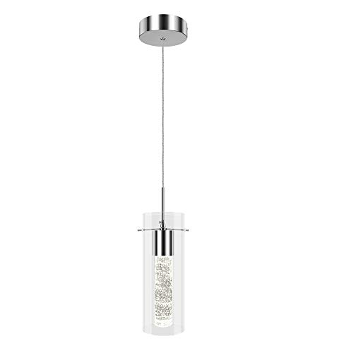 PARTPHONER Pendant Ceiling Light Fixture for Kitchen Island, Integrated LED Hanging Light with Crystal Bubble Glass 8.5W, 4000K Neutral White Light for Kitchen, Restaurant, Dinning Room(1 Light)