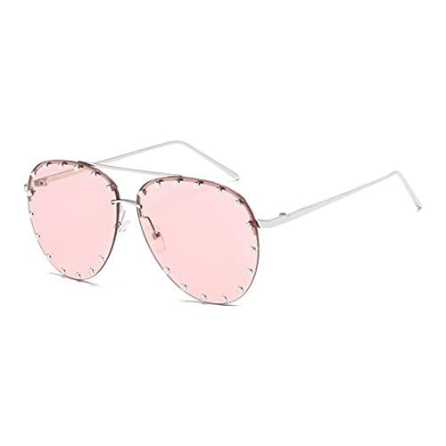UKKD Gafas De Sol Fashion Cool Sun Style Oval Sunglasses Sun Vintage Rivets-Color 5