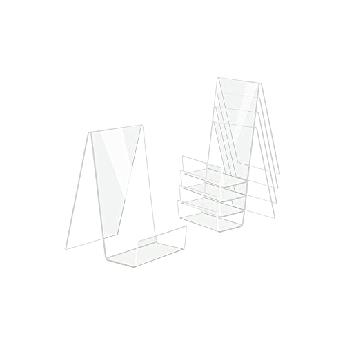 Actume 5PCS Clear Acrylic Book Stand, Transparent Acrylic Bookshelf, Book Holder Table, Picture Album and Brochure Holder for Displaying Books, Notebooks, Picture Albums, Picture Books, etc.