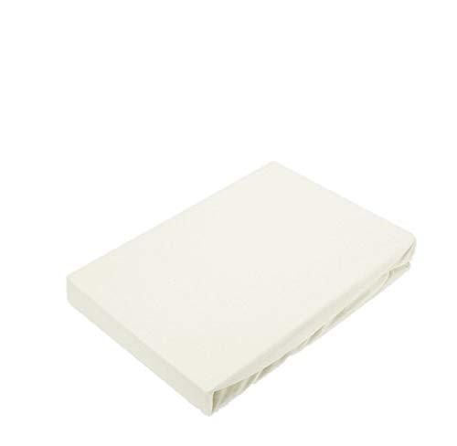 Exklusiv Heimtextil - Sábana bajera ajustable con goma elástica en todo el contorno, 100 % algodón, Color blanco natural., 120 x 200 cm