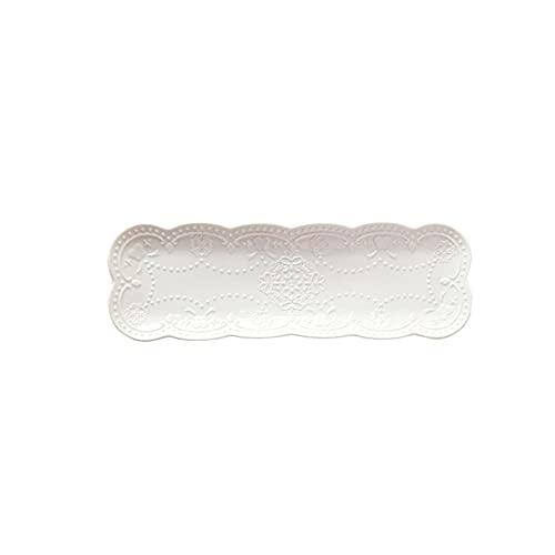 Caijiecaip Platos Llanos 36 * 11.7cm Placa Placas de Sushi Rectangular Patrón Puerta de Porcelana Sirviendo bandejas para Aperitivo, decoración de Platos