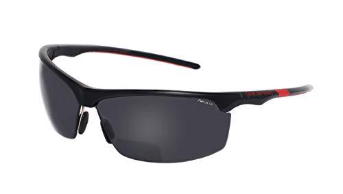 rainbow safety Sonnenbrille mit Lesehilfe Bifokal Sportbrille mit Leseteil für Radler Baseball Laufen Angeln Nachtsicht Schutzbrille Kontrastbrille (PRO BLK-RED+3.50D)