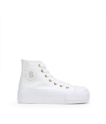 BOSANOVA Zapatillas Blancas Abotinadas de Tela Blanco 39
