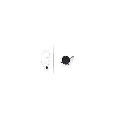 Mens 14K White Gold Round Black Diamond Stud Earring 0.50 CT. TW.