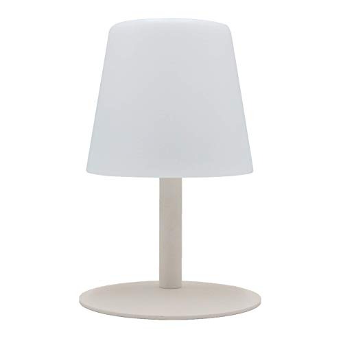 Lumisky Lampada da Tavolo da Giardino con Luce Bianca senza Fili su Batteria Standy Mini Rock a LED 26 Cm, ABS Acciaio, Bianco, 15X15Xh26