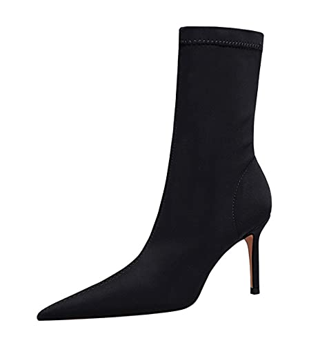 Hanfike Botas de tobillo puntiagudas para mujer DS315-A1, Black, 37 EU