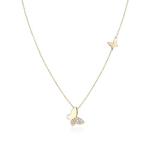 ZPEE Collares 925 Plata de Mariposa Collar Femenino de Plata esterlina Cadena de clavícula luz de Lujo cumpleaños día de San valentín Regalo de Oro y Plata Gargantilla Delicada (Color : B)