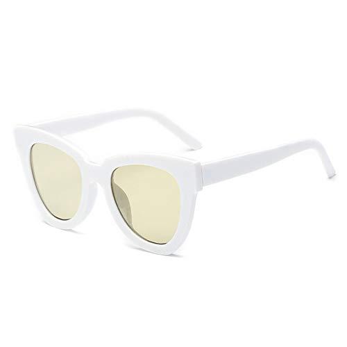 ZYJ Gafas de Sol de Moda Cat Eye Mujer Diseñador de la Marca Gafas de Sol Vintage Gafas graduadas Femeninas Vitange Ladies Eyewear UV400,White Yellow