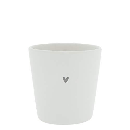 Becher little Heart Keramik weiss grau Keramikgeschirr Kaffeebecher Trinkbecher BC Cup Küche Gedeckter Tisch