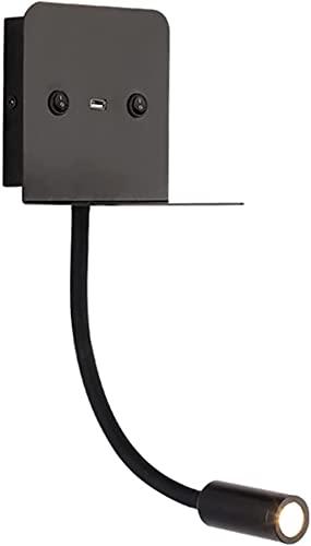 Lámpara De Pared Con Foco De Manguera LED Negro Con Interruptor Lámpara De Pared De Libro De Lectura Con Lámpara De Pared De Cabecera De Dormitorio USB Iluminación De Pasillo De Sala De Estar