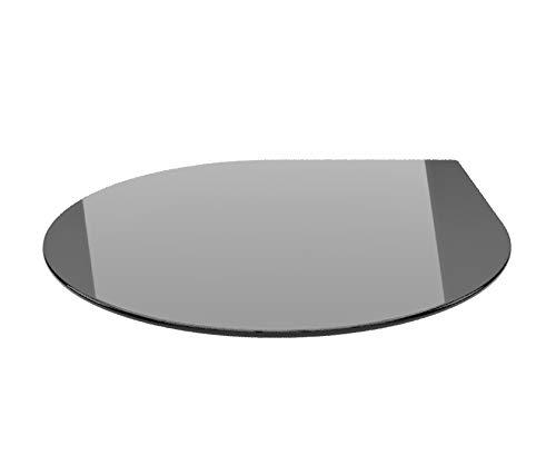 Tropfen 100cm Glas schwarz - Funkenschutzplatte Kaminbodenplatte Glasplatte f. Kaminofen (Schwarz T100cm - mit Silikon-Dichtung)