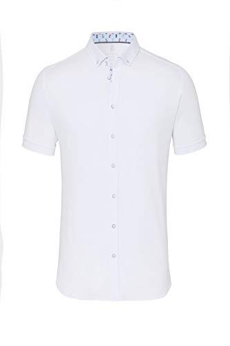 DESOTO Herren Hemd Kurzarm mit Button-down Kragen - Bügelfrei, Farbe:Weiß (White solid 001), Größe:S