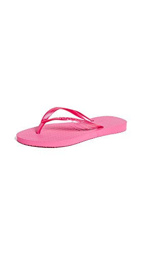 Havaianas Women's Slim Flip Flop Sandal, Shocking Pink, 9/10 M US