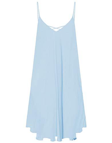 ROMWE Women's Summer Spaghetti Strap Sundress Sleeveless Beach Slip Dress Light Blue L