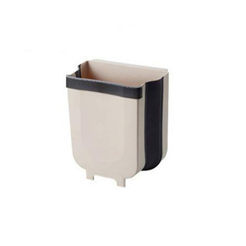 Stafeny 1 papelera plegable, para puerta de pared, gran capacidad, basura, cubo de basura para coche, cubo de basura colgante, marrón, blanco y azul, 9 L, 10 L