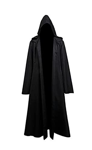 Fuman Jedi Robe Deluxe Cosplay Kostüm Umhang mit Kapuze Schwarz L