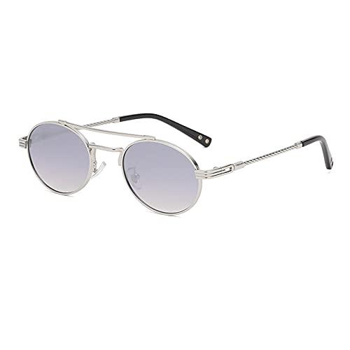 QWKLNRA Gafas De Sol para Hombre Marco De Color Plata Lente Gris Polarizado Deportes Gafas De Sol Ovaladas De Hombre Vintage Punk Mirror Gafas De Sol para Hombres Uv400 Coloridos Tonos Retro Pequeñ