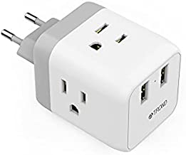 European to US Travel Plug Adapter, TROND International Electrical Power Plug with 2 USB 3 Outlets,Cube Charger Adaptor for US to EU Germany France Spain, for Hotel Airport Cruise College Kitchen Desk