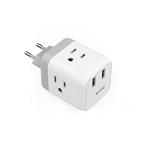 European to US Travel Plug Adapter, TROND International Electrical Power Plug with 2 USB 3...