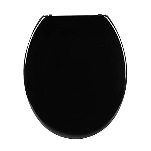 Sedile WC Universale in MDF di Alta Qualità, Tavoletta Copriwater con Cerniere in Metallo Cromato, Tanti Motivi Colorati per Bagno e Toilette (Nero)