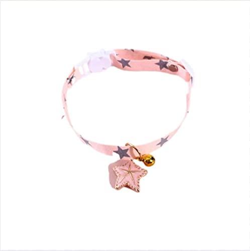 Collar de Gato con Campana Collar para Mascotas Collar de Cachorro de Dibujos Animados Suministros para Mascotas Accesorios para Gatos, Rosa, S