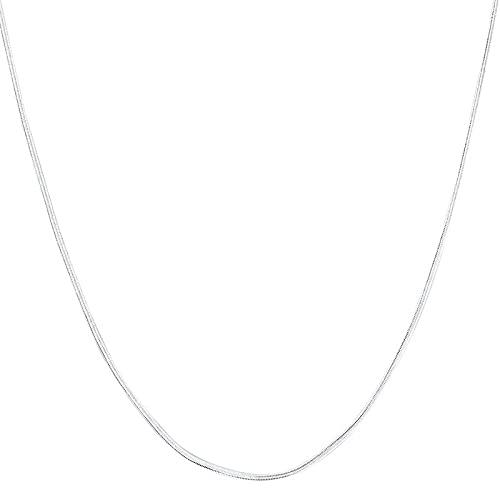ZHUDJ Plata de Ley 925 16/18/20/22/24/26/28/30 Pulgadas 2 mm Collar de Cadena de Serpiente Plana para Mujer Hombre Regalo Dama joyería 55 cm Collar de Plata