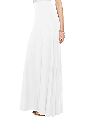WDR1434 Womens Solid Maxi Skirt with Elastic Waist Band M WHITE