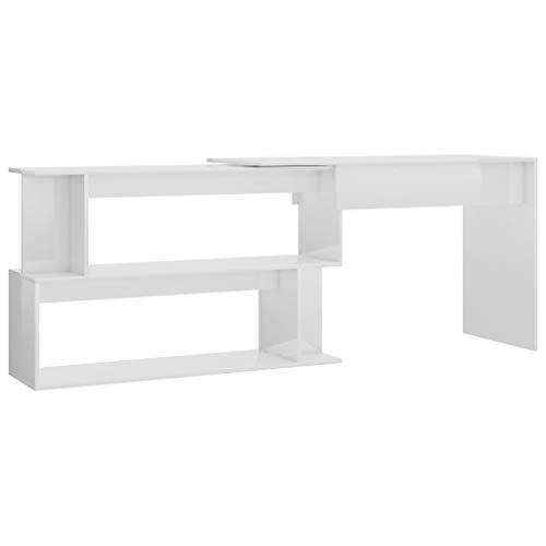 vidaXL Eckschreibtisch mit Fächern Drehbar Schreibtisch Bürotisch Computertisch Büro PC Tisch Arbeitstisch Laptoptisch Hochglanz-Weiß 200x50x76cm Spanplatte