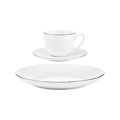 BUTLERS Silver Lining Tasse mit Untertasse 240ml - Weiße Kaffeetasse aus Qualitätsporzellan - Hochwertiges Kaffeeservice