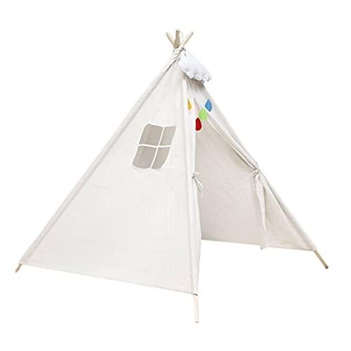SeniorMar-UK Tienda de campaña para niños Indios, Transpirable, pequeña Ventana, Tela de algodón y Lino, sin sustancias nocivas, Textura Suave, Blanco, 1,1 m