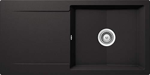 SCHOCK Küchenspüle 100 x 50 cm Epure D-100L Nero - CRISTALITE Granitspüle ab 60 cm Unterschrank-Breite