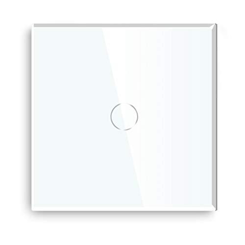 BSEED interruptor luz pared 1 Gang 1 Way interruptor tactil pared Blanco interruptores,panel de vidrio templado con indicador LED,sin cable neutro (Carga máxima:3-300W)