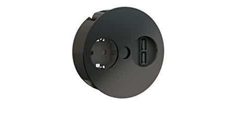 Bachmann Twist 1 x geaard stopcontact, 1 x dubbele USB-oplader
