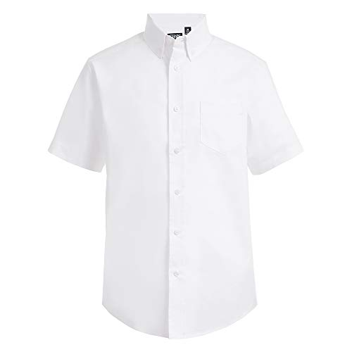 Chaps Boys' Big Short Sleeve Oxford Button-Down Dress Shirt, White, X-Large (18/20)