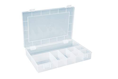 hünersdorff Sortimentskasten: stabile Sortierbox (PP) mit fester Fachaufteilung (8 Fächer), Sortierkasten-Maße: T225 x B335 x H55 mm, Made in Germany