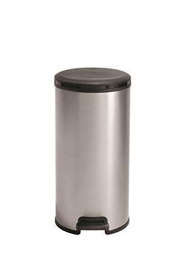 CURVER Poubelle à pédale Slim ronde - 30 Litres - Poubelle Haute Aspect Argent brossé - Poubelle en Métal et Plastique recyclé pour Cuisine, Bureau, Salle de Bain - 33,6 x 29,5 x 58,9 cm