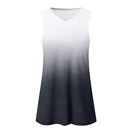 Camisetas casuales de manga corta de verano para mujer, blusa y top con cuello en V, sudaderas de verano para mujer, de algodón gris M