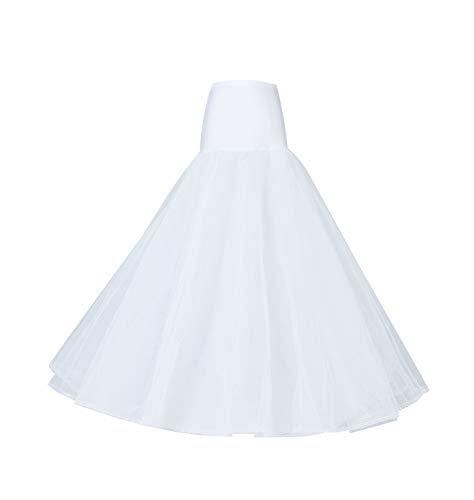 BEAUTELICATE A-line Full Gown Floor-Length Bridal Dress Gown Slip Petticoat White L