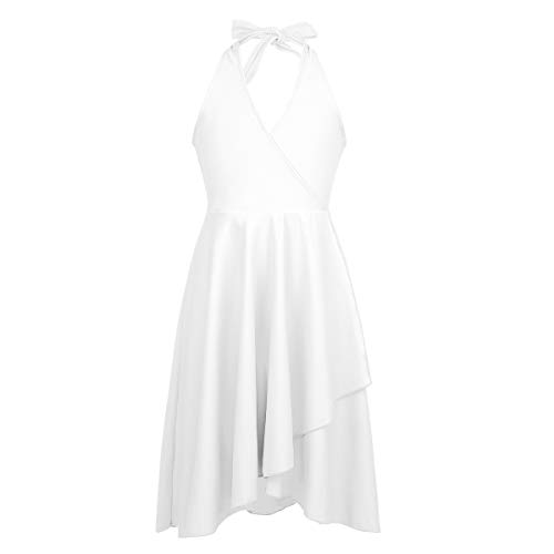 Agoky Vestido de Baile Latino para Niña Vestido de Ballet Danza Lírica Contemporánea Baile de Salón Cuello Halter Disfraz de Bailarina Dancewear Blanco 14 Años