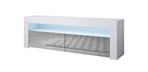 Muebles Bonitos | Mueble TV Modelo Aker | Ancho 140 x Alto 50,5 x Profundo 35 cm | Mueble de Melamina Brillo | Color Blanco y Gris