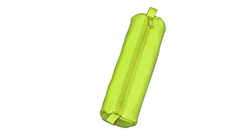 ALASSIO 43142 - Schlamperrolle aus echtem Leder, Stiftetui hellgrün, Schlamper ca. 21 x 6 cm, Schlampermäppchen rund, Etui für Schreibgeräte, Faulenzer mit Reißverschluss