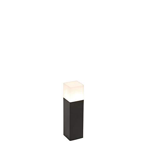 QAZQA Modern Stehende Außenlampe schwarz mit opalweißem Schirm 30 cm - Dänemark/Außenbeleuchtung Aluminium/Kunststoff Rechteckig LED geeignet E27 Max. 1 x 15 Watt